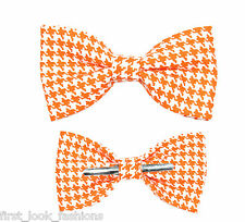 Orange / White Houndstooth Clip On Bow Tie Choose Adult / Boy / 12-18 Months