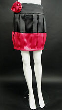 BNWT LADIES HEAVEN BLACK & PINK ROSE SATIN PLEAT PARTY SKIRT SIZES 8 to 14