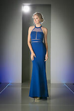 Long Modern Prom Evening  Formal Dress Cut Out Panel Front Fitted
