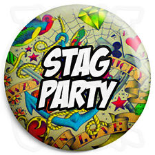 Stag Party - 25mm Tattoo Wedding Button Badge with Fridge Magnet Option