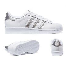 Adidas Superstar White Silver Women's Girls Boys Trainers All Sizes