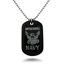U.S. Navy Logo + Psalm Prayer Engraved Aluminum Dog Tag Necklace Made in USA