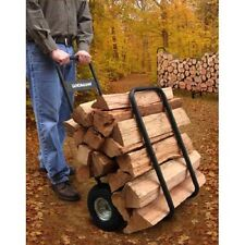 Firewood Carrier Cart With Cover Log Rack Caddy Holder Storage Rolling Wheels