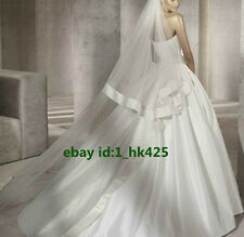White/Ivory 2T Bridal Veils Wedding Cathedral Length Satin Edge Veil With Comb