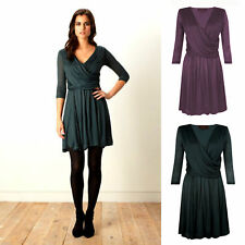 French Connection Great Plains Purple Black Green Party Dress Size 8 10 12 14 16