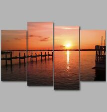 XL Jetty over the Sea by the at Sunset 4 Panel Split Canvas Picture Wall Art