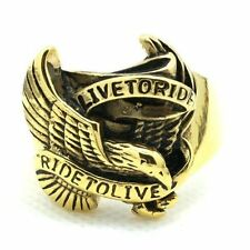 316L Stainless Steel gold toned eagle ring US 8-14 Motorcycle biker live to ride