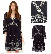 Monsoon Cristabel Navy Blue Embroidered Empire Boho Dress Size 8 10 12 14 16