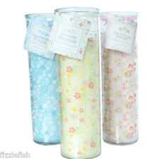 GLASS Tube JAR Spring SCENTED Pink Yellow Blue Fragranced CANDLE
