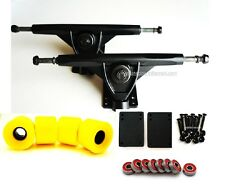 "Combo 7"" Longboard Trucks BK 76mm Skateboard Wheels YL Abec7 Bearing ScrewsRise"
