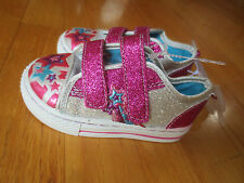 Toddler girl STARS SILVER AND HOT PINK GLITTER SNEAKERS Shoes NWT 4 or 6