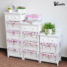 Shabby Chic White Wooden 2 Drawer Bedside Tables / Bedside Cabinet Storage Unit