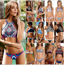 Sexy Women High Neck Bikini Set Push Up Swimwear Padded Bra Swimsuit Bathingsuit