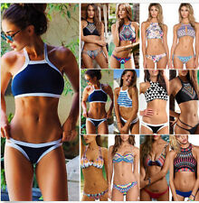 Sexy Women High Neck Bikini Set Push Up Swimwear Padded Bra Swimsuit Beach Wear