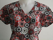 XS S M L XL 2XL RED BLACK WHITE GRAY V NECK SCRUB TOP HEARTS CIRCLES