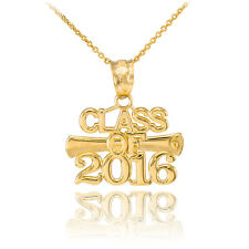 14k Gold 'CLASS OF 2016' Graduation Charm Pendant Necklace
