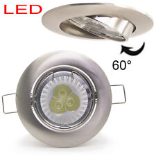 50X 9W 6W Brushed Chrome LED tilt Recessed Ceiling Down spot light Dimmable GU10