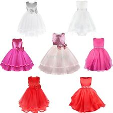 Flower Girls Toddler Princess Pageant Party Wedding Sequins Fancy Tulle Dresses