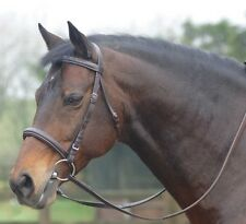 Cottage Craft Leather Bridle With Rubber Reins, Black or Brown Cambridge Bridle