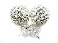6-8-10-12mm 925 Sterling Silver White Clear Shamballa Crystal Ball Stud Earring