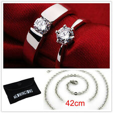 Buy 1 get 3 Free Jewelry Sapphire 18K White Gold Filled Wedding Couple Ring Band