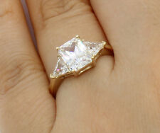 2.00 Ct 14K Yellow Gold Emerald Trillion Engagement Wedding Propose Promise Ring
