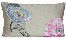 Embroidered Flowers Cushion Cover Lorca Silk Fabric Felicite Throw Pillow Case