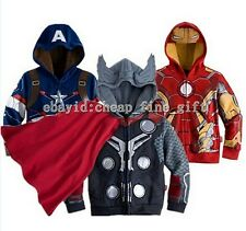 Kid Boys Long Sleeve Superhero Hoodie Hooded Jacket Sweatshirt Child Tops Coat