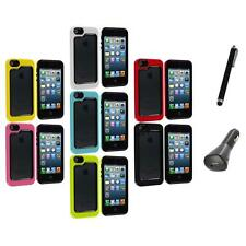 For iPhone 5 5S Hybrid Hard TPU 2-Piece Bumper Frame Case Cover+Charger+Pen