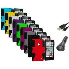 For Nokia Lumia 520 Hybrid Mesh Hard/Soft Silicone Color Case Cover+Charger+USB