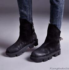 Mens casual shoes suede pull on buckle zipper punk gothic military ankle boots