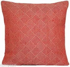 Pierre Frey Fabric Cushion Cover Red Woven Squares Decorative Pillow Case