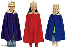 King Queen Medieval Boys Girls Fairytale Cape Crown History Costume Outfit New