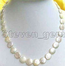 "SALE Big 11-12mm WHITE COIN Round Natural freshwater pearl 17"" NECKLACE-ne0201"