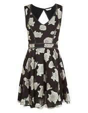 Monsoon Saffi Black Silver Lurex Jacquard Party Dress Size 8 10 12 14 RRP £78