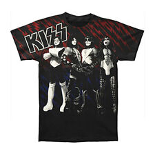 KISS Men's  Heavens On Fire Slim Fit T-shirt Black Rockabilia