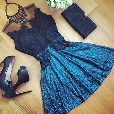 Summer Womens Party Bodycon Sleeveless Dress Ladies Evening Lace Cocktail Dress