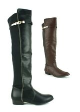 LADIES WOMENS OVER THE KNEE BOOTS FLAT HEEL FAUX LEATHER ZIP UP SHOES NEW SIZE