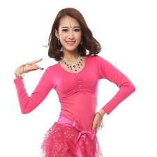 Belly Dance Long Velvet Sleeve Tops Dancing Tribal Bra Costume