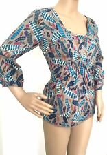 White Stuff Mushroom Teal Leaf Print Cotton Tunic Top Size 8 10 14 16 RRP £39.95