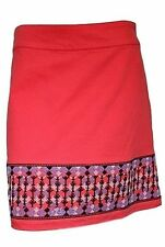 White Stuff Coral Red Embroidered Cotton Chino A-Line Short Skirt Sz 10 12 14 16