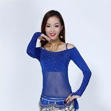 Belly Dance Diamond Long Sleeve Tops Dancing Tribal Shoulder Expose Bra Costume