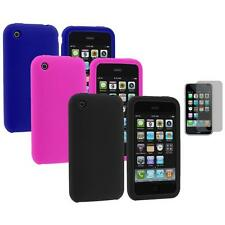 Color Silicone Rubber Gel Cover Case+Screen Protector for Apple iPhone 3G 3GS