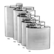 New 6 7 8 10 18oz Stainless Steel Hip Liquor Whiskey Alcohol Flask Cap + Funnel