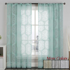 Sheer Curtains Window Curtain Panels Rod Pocket Drape Panel Spring Color Drapery
