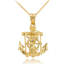 14k Gold Mariner Crucifix Anchor St. Clement's Cross Pendant Necklace