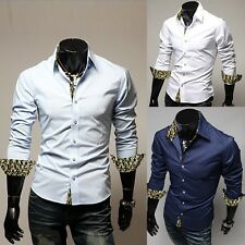 Spring shirt Men's casual French cuff Slim Snake spell color long-sleeved shirt