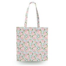 Pink Roses on Blue Polka Dots Canvas Tote Bag - 16x16 inch Book Gym Bag
