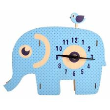Edna Elephant Wall Clock with Swinging Pendulum Kids Room Décor Ornament Novelty