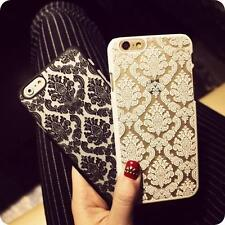 New Hard Back Damask Case Cover for iPhone Models with Tempered Screen Protector